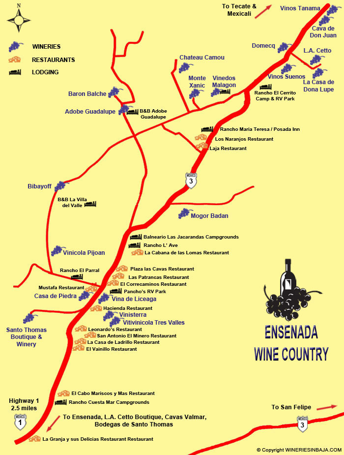 Ensenada Wine Map